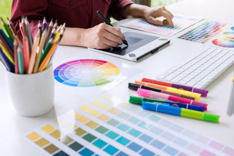 image of female creative graphic designer working on color selection picture id1057613484